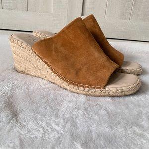 ZARA Suede Espadrille Wedge Sandals Open Toe 10